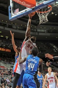 Detroit's Jason Maxiell attempts to dunk over Orlando's Andrew Nicholson in the second quarter. Detroit won the game 105-90