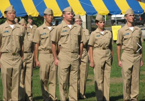 University of Michigan ROTC Marine students stand at attention