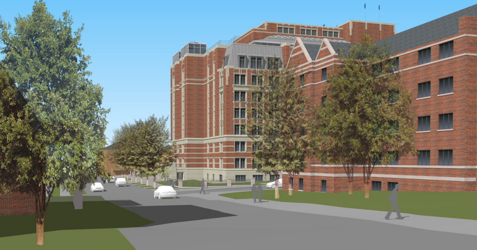 view from main street from the south quad, source - approved designs for the Munger Graduate Residences